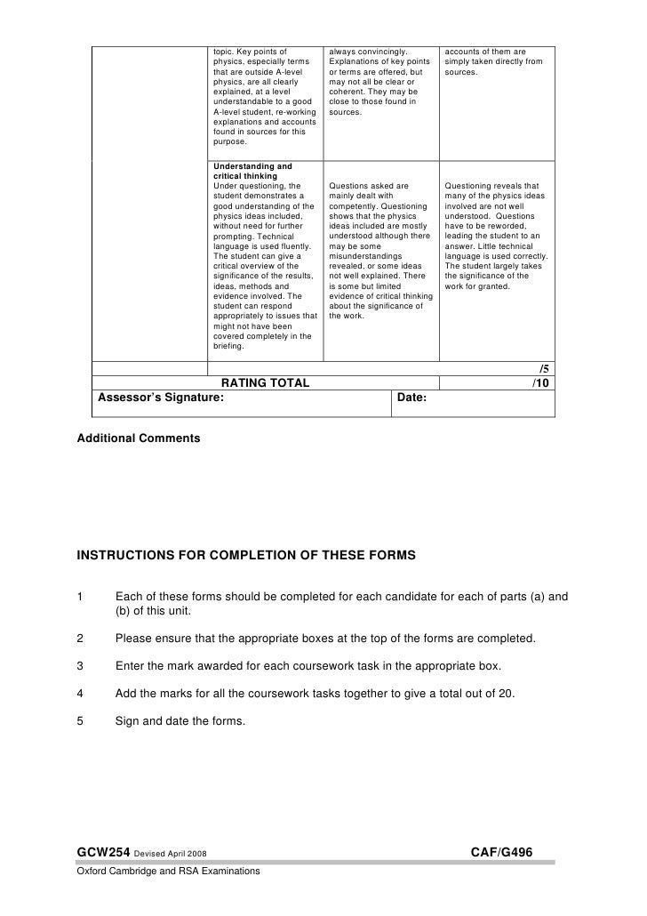 physics ocr coursework mark schemes Gcse physics coursework mark scheme gcse physics coursework guidance the ocr scheme of work for gcse physics a (published separately) will.