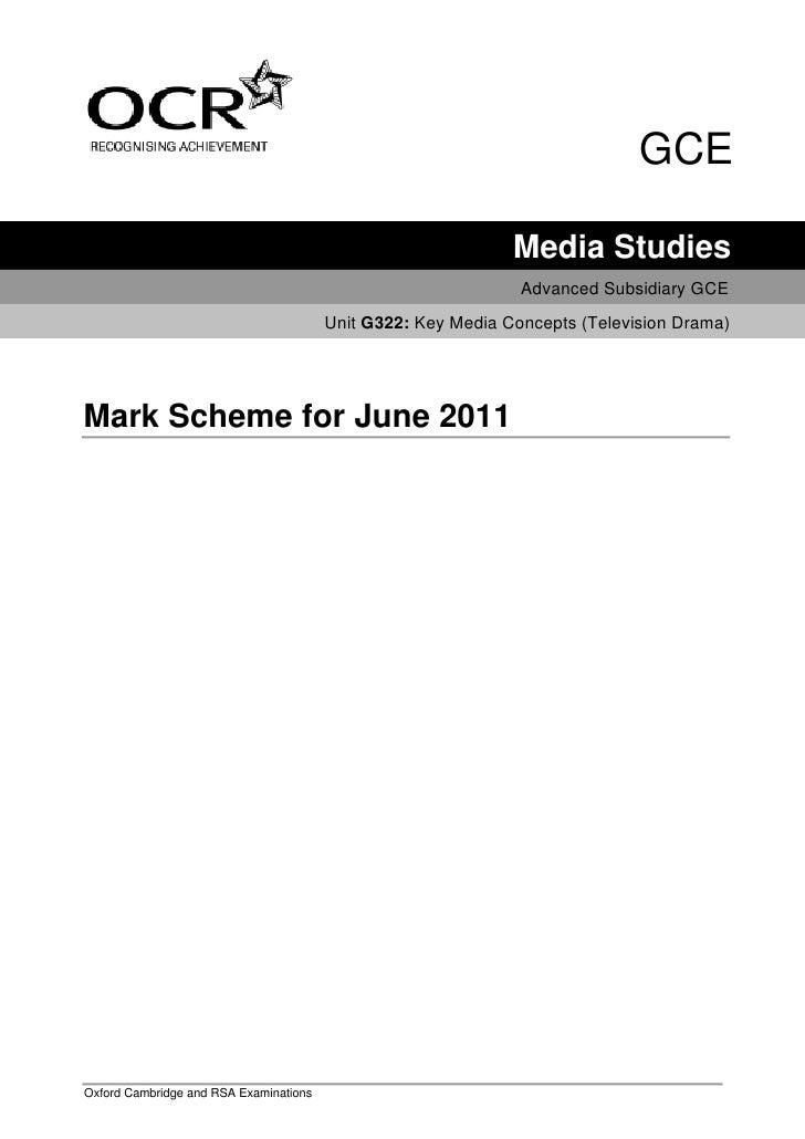 G322 Mark Scheme (2011)