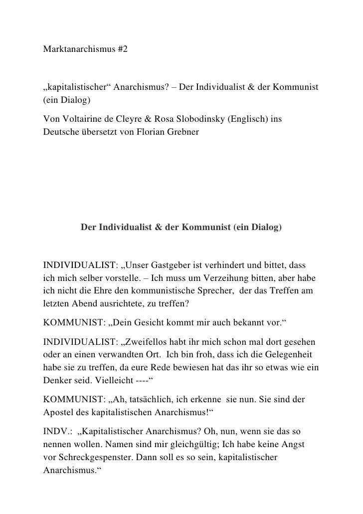 """Marktanarchismus #2<br />""""kapitalistischer"""" Anarchismus? – Der Individualist & der Kommunist (ein Dialog)<br />Von Voltair..."""