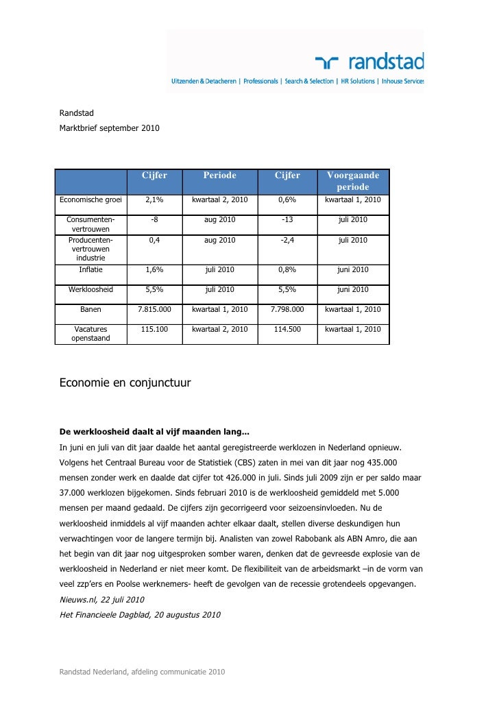 Randstad Marktbrief september 2010                           Cijfer            Periode           Cijfer         Voorgaande...