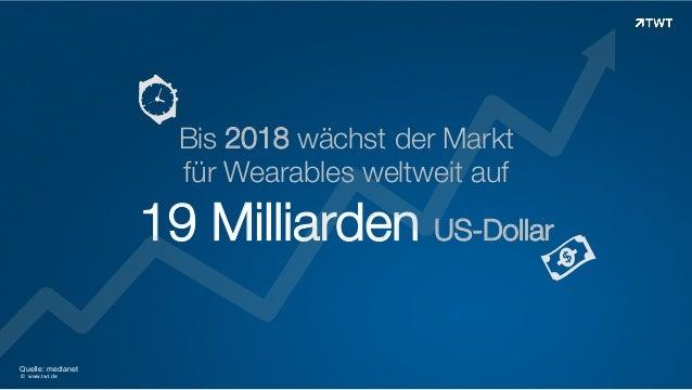 Bis 2018 wächst der Markt für Wearables weltweit auf  19 Milliarden US-Dollar Quelle: medianet © www.twt.de
