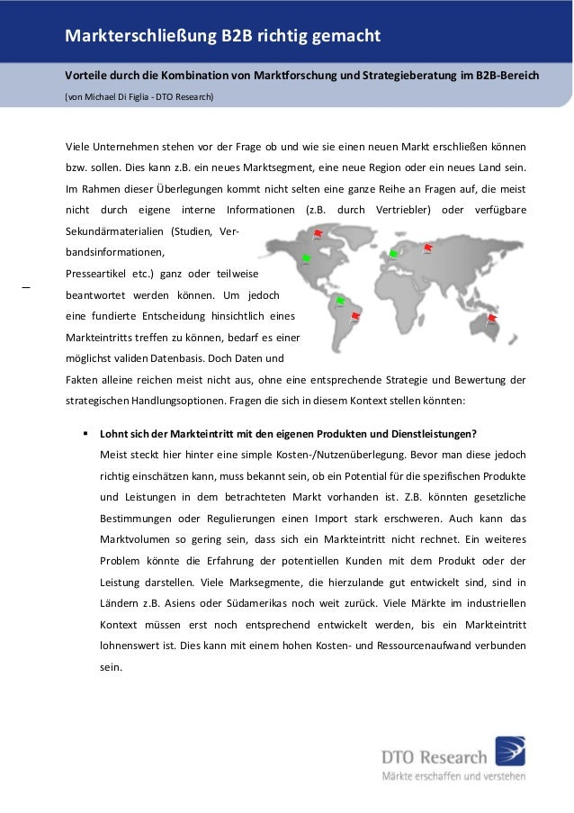 Markterschließung B2B richtig gemacht Vorteile durch die Kombination von Marktforschung und Strategieberatung im B2B-Berei...