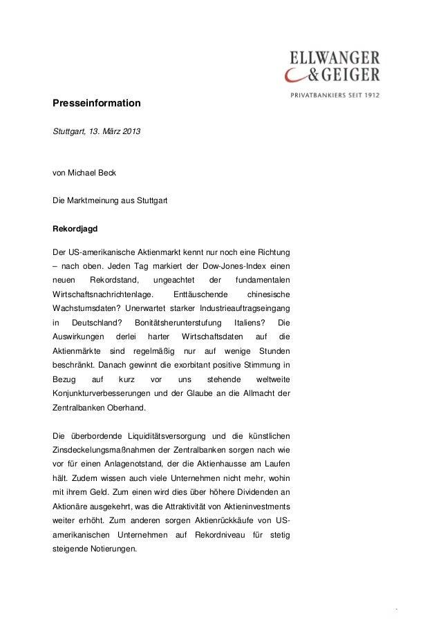 PresseinformationStuttgart, 13. März 2013von Michael BeckDie Marktmeinung aus StuttgartRekordjagdDer US-amerikanische Akti...