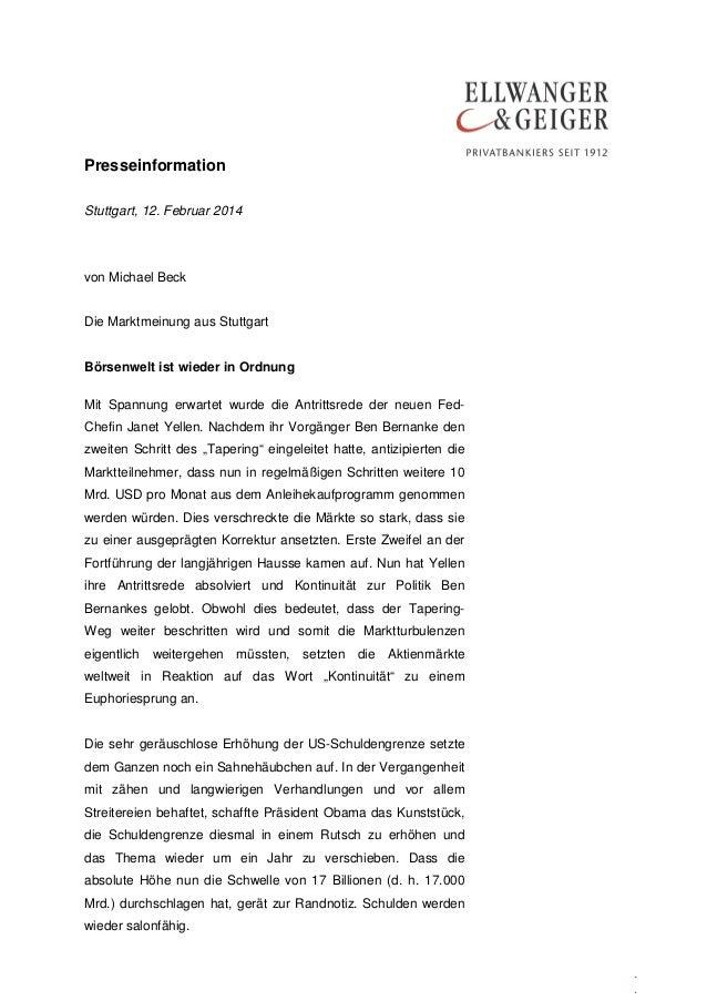 Presseinformation Stuttgart, 12. Februar 2014  von Michael Beck Die Marktmeinung aus Stuttgart Börsenwelt ist wieder in Or...