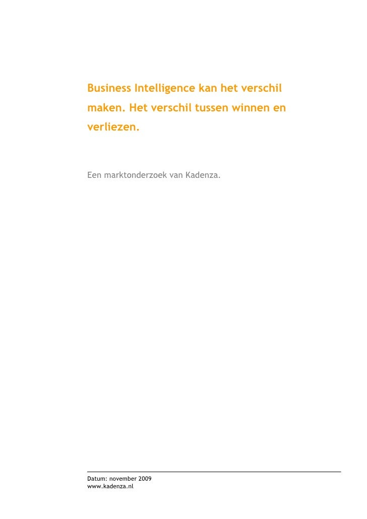 Kadenza onderzoeksrapport. Succesvollere Business Intelligence projecten