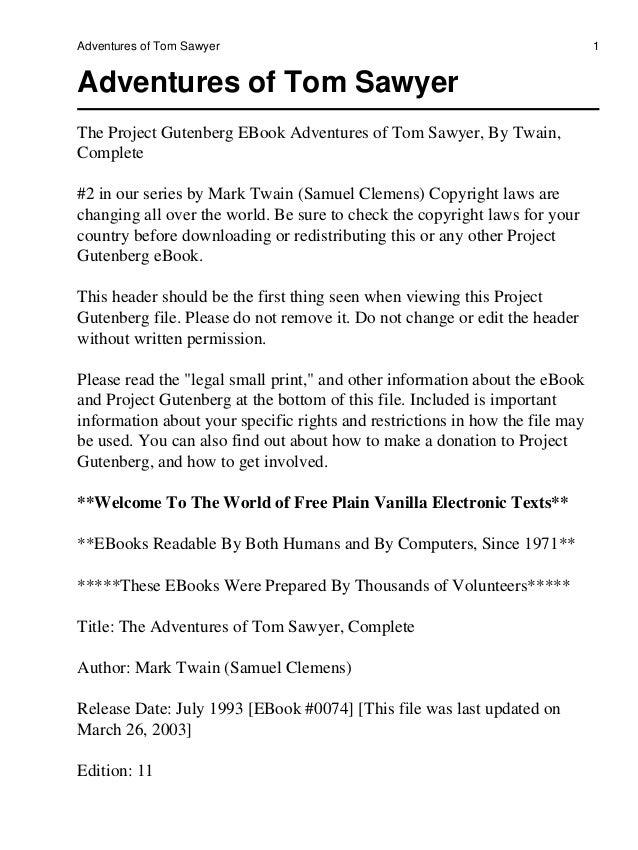 Adventures of Tom Sawyer                                                      1Adventures of Tom SawyerThe Project Gutenbe...