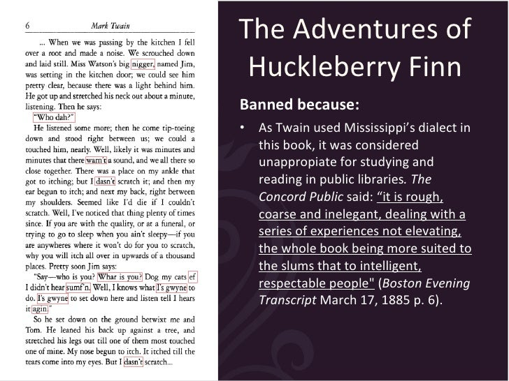 an argument against mark twains novel huckleberry finn Although there are still several discernable traces of overt racism in the novel by mark twain, the adventures of huckleberry finn, the author uses characterization.