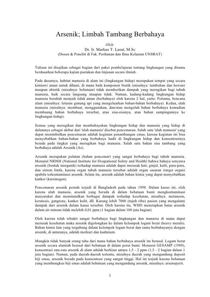 Arsenik; Limbah Tambang Berbahaya                                              Oleh:                                Dr. Ir...