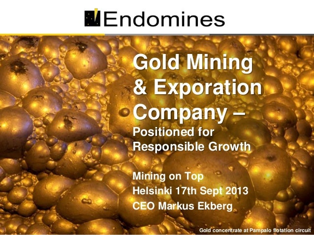 Gold Mining & Exporation Company – Positioned for Responsible Growth - Markus Ekberg, Endomines