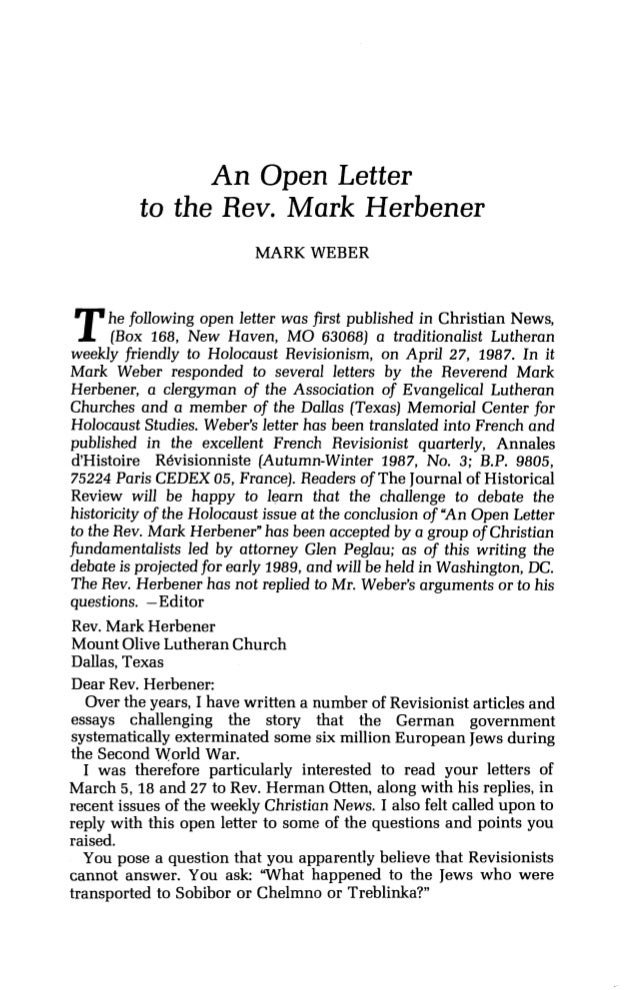 An Open Letter to the Rev. Mark Herbener MARK WEBER The following open letter was first published in Christian News, (Box ...