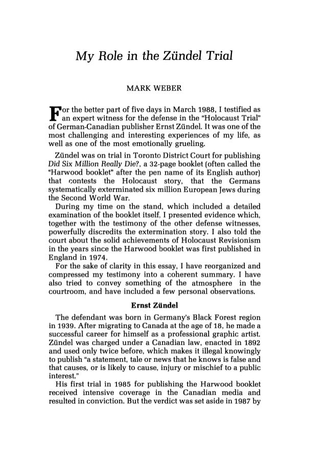 Mark weber   my role in the zündel trial - journal of historical review volume 9 no 4