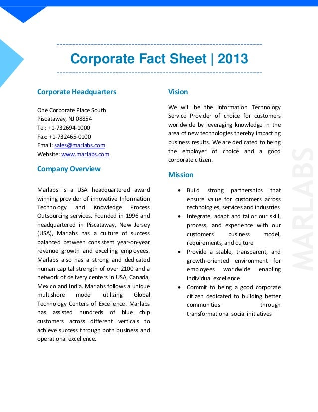 Corporate Fact Sheet | 2013Corporate HeadquartersOne Corporate Place SouthPiscataway, NJ 08854Tel: +1-732694-1000Fax: +1-7...