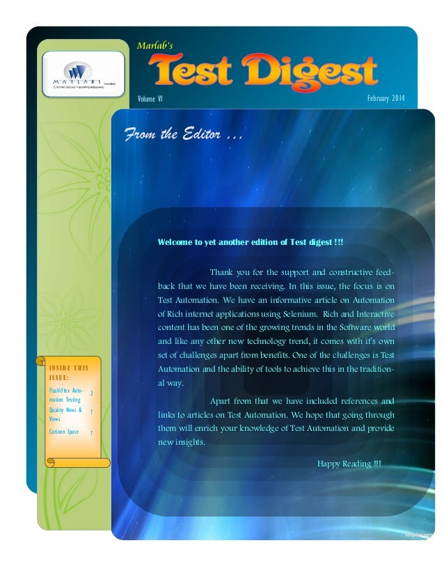 Marlabs Test Digest Feb 2014