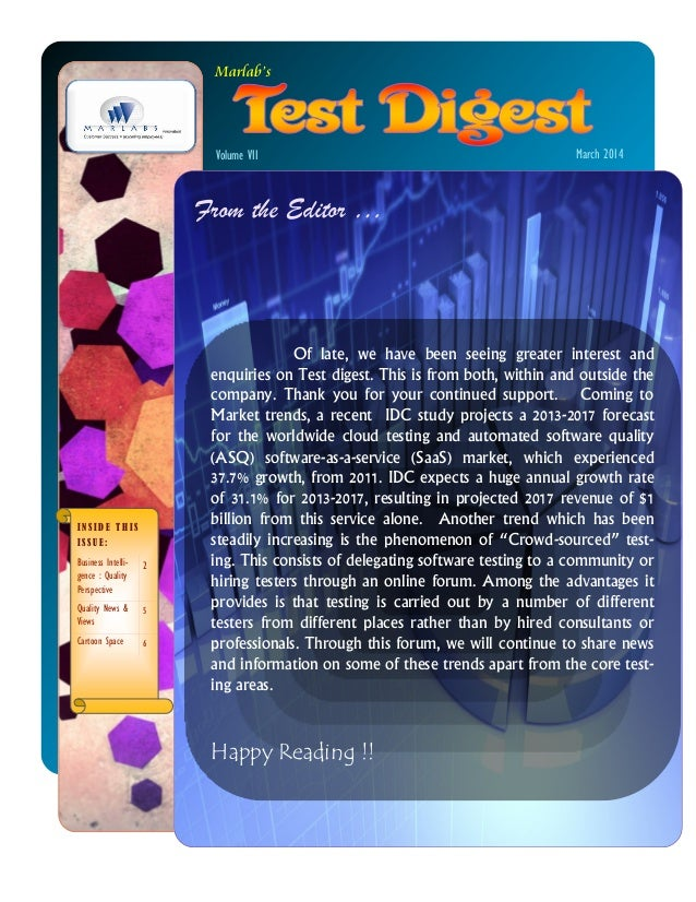 Marlabs Test Digest March 2014