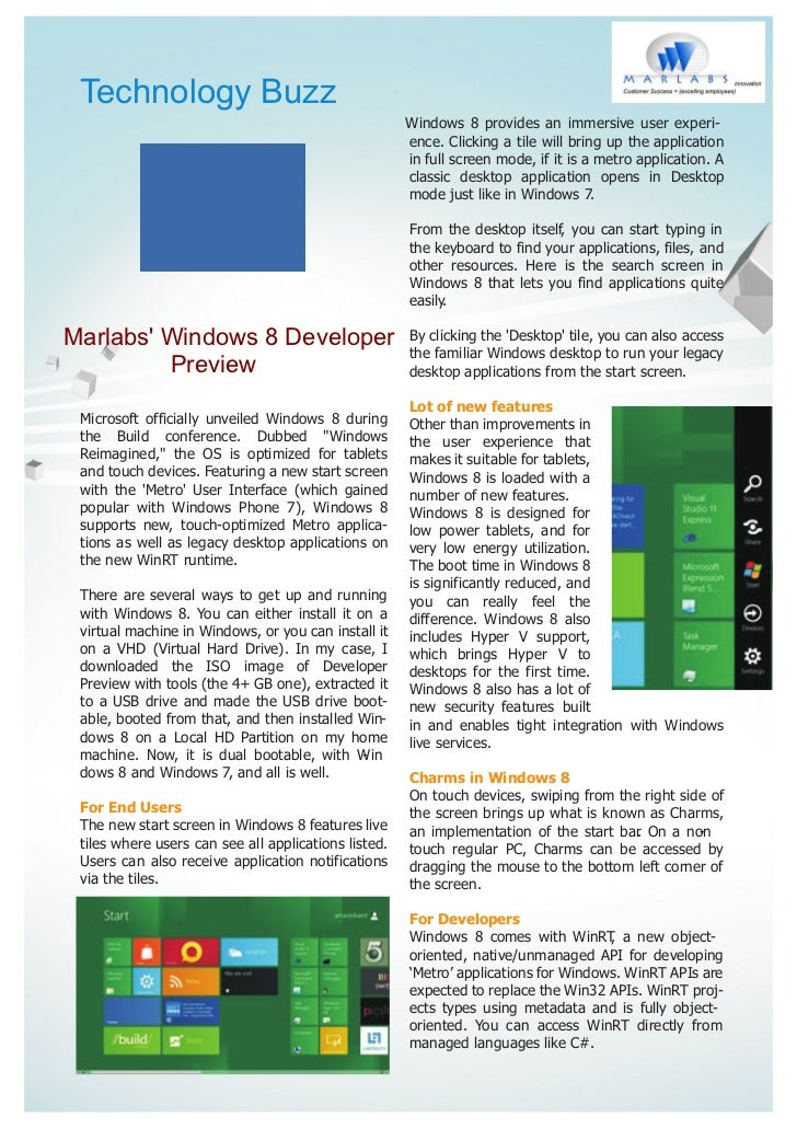 Marlabs - Windows 8 Developer Preview