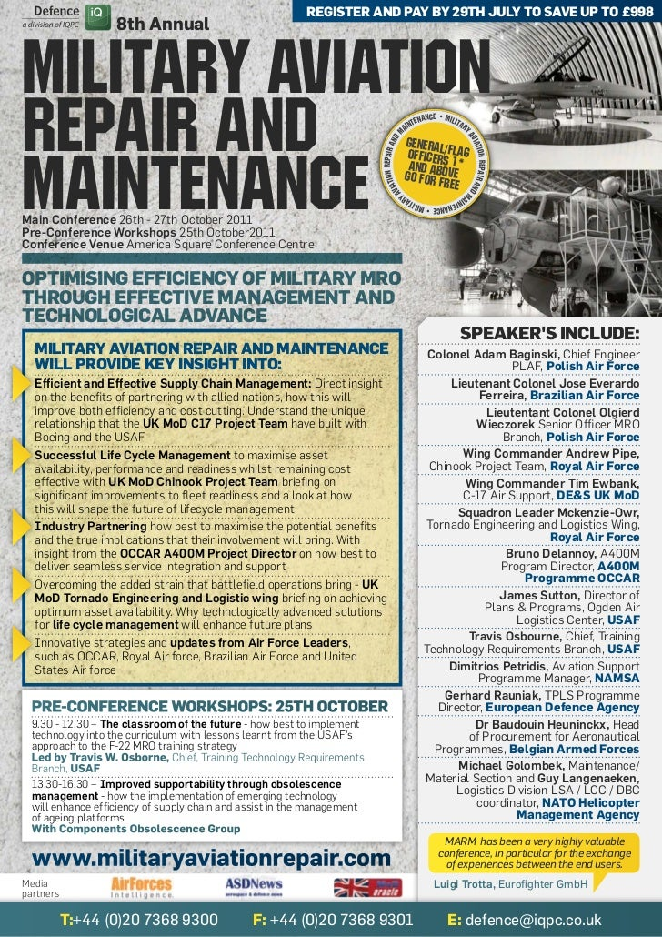 register and Pay by 29th July to save uP to £998                   8th AnnualMilitary aviationrepair and                  ...