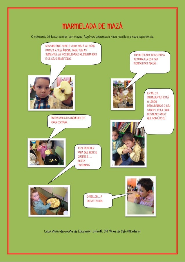 MARMELADA DE MAZÁ O mércores 16 tocou cociñar con mazás. Aquí vos deixamos a nosa receita e a nosa experiencia. Laboratori...