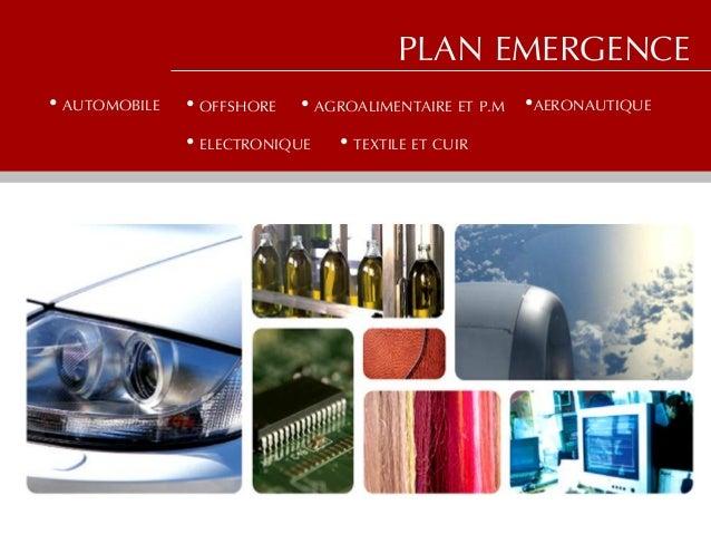 • AUTOMOBILEPLAN EMERGENCE• OFFSHORE • AGROALIMENTAIRE ET P.M •AERONAUTIQUE• ELECTRONIQUE • TEXTILE ET CUIR