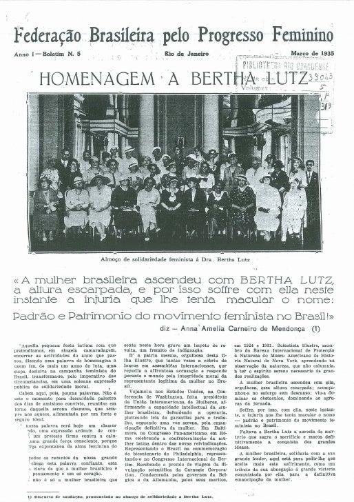 Homenagem a Bertha Lutz - FBPF - Bol 5