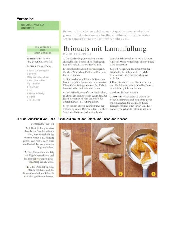 VorspeiseHier der Ausschnitt von Seite 18 zum Zubereiten des Teiges und Falten der Taschen: