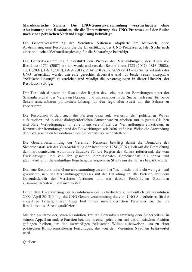 Marokkanische Sahara: Die UNO-Generalversammlung verabschiedete ohne Abstimmung eine Resolution, die die Unterstützung des...