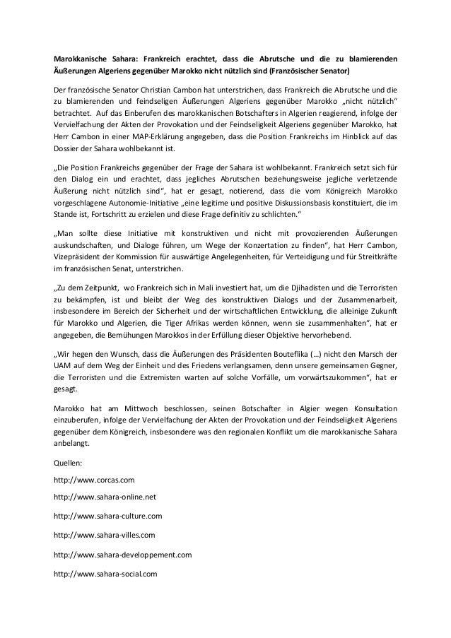 Marokkanische sahara frankreich erachtet, dass die abrutsche und die zu blamierenden äußerungen algeriens gegenüber marokko nicht nützlich sind (französischer senator)