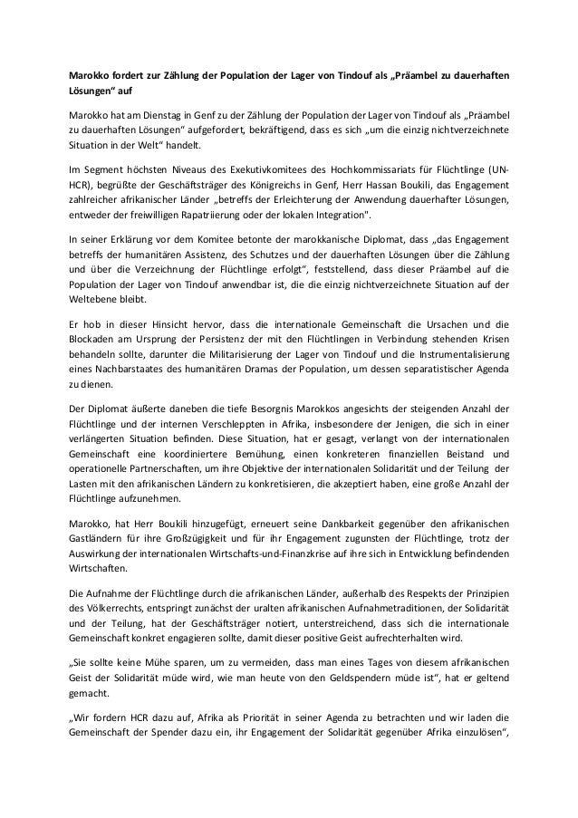 """Marokko fordert zur Zählung der Population der Lager von Tindouf als """"Präambel zu dauerhaften  Lösungen"""" auf  Marokko hat ..."""
