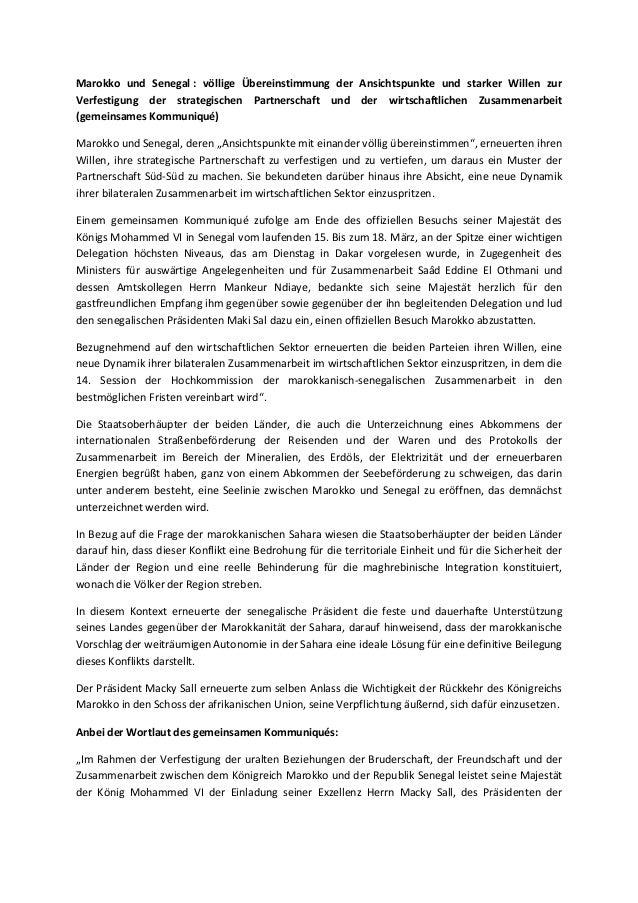 Marokko und Senegal : völlige Übereinstimmung der Ansichtspunkte und starker Willen zurVerfestigung der strategischen Part...