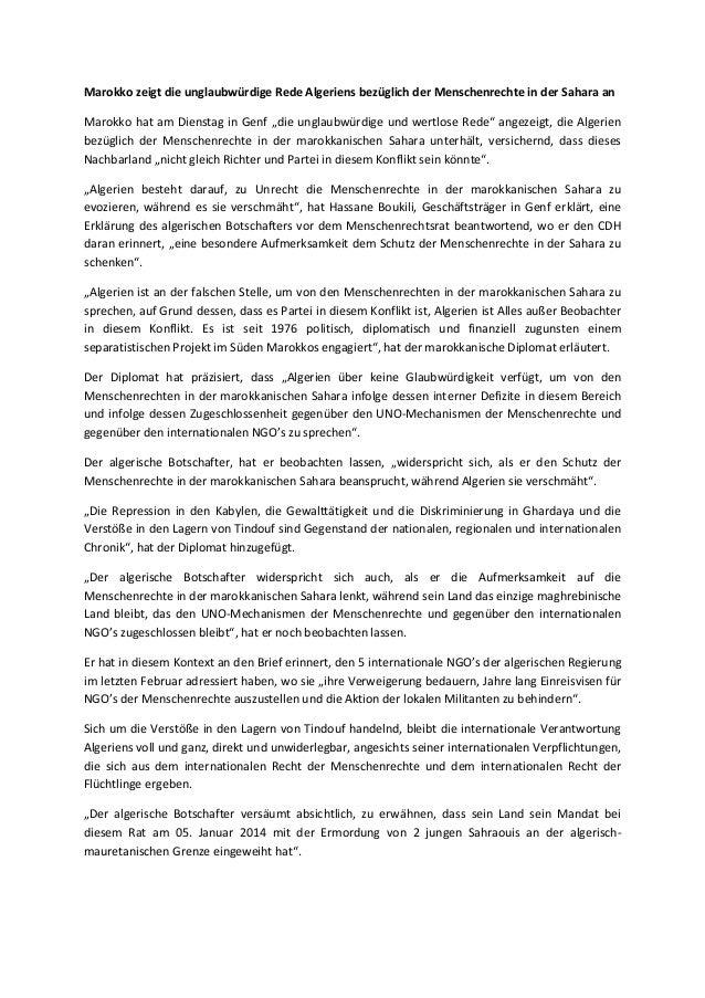 Marokko zeigt die unglaubwürdige Rede Algeriens bezüglich der Menschenrechte in der Sahara an Marokko hat am Dienstag in G...