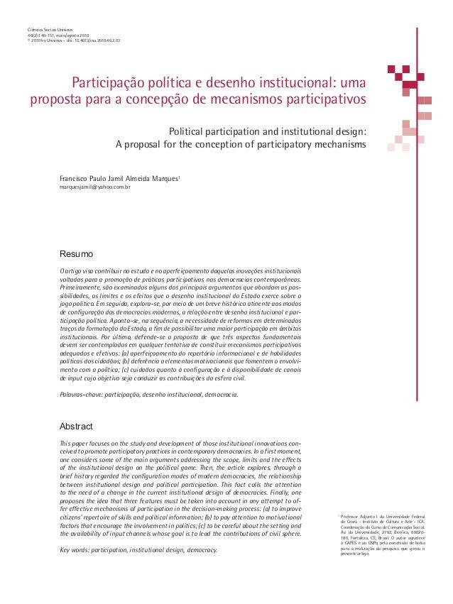 Participação política e desenho institucional: uma proposta para a concepção de mecanismos participativos