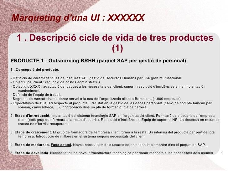 Màrqueting duna UI : XXXXXX   1 . Descripció cicle de vida de tres productes                          (1)PRODUCTE 1 : Outs...