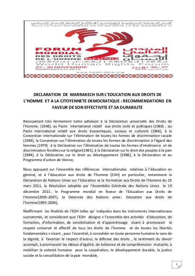 1 DECLARATION DE MARRAKECH SUR L'EDUCATION AUX DROITS DE L'HOMME ET A LA CITOYENNETE DEMOCRATIQUE : RECOMMENDATIONS EN FAV...