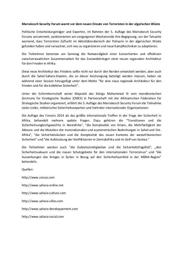 Marrakesch Security Forum warnt vor dem neuen Einsatz von Terroristen in der algerischen Wüste Politische Entscheidungsträ...