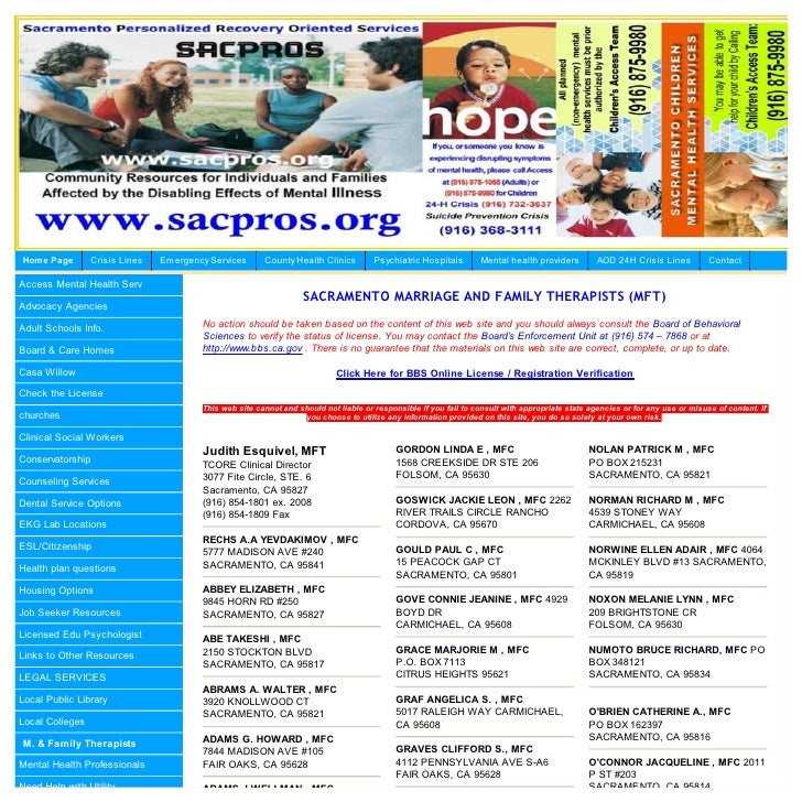 Home Page        Crisis Lines   Em ergency Services      County Health Clinics         Psychiatric Hospitals        Mental...