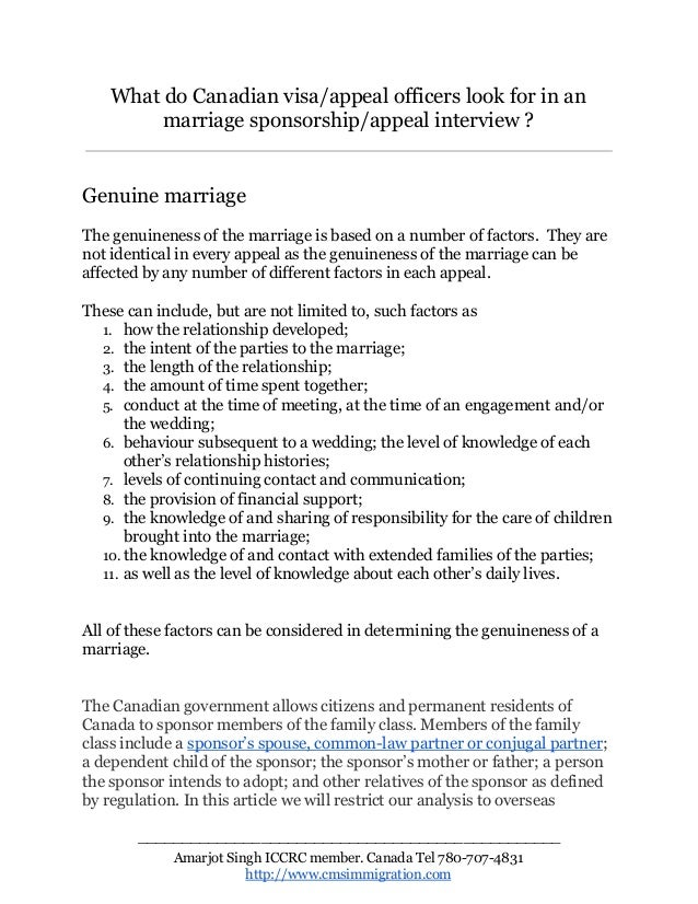 Questions asked at Canadian marriage visa interviews