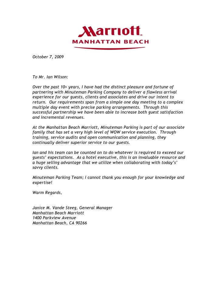Marriott Manhattan Beach - Minuteman Parking Testimonial