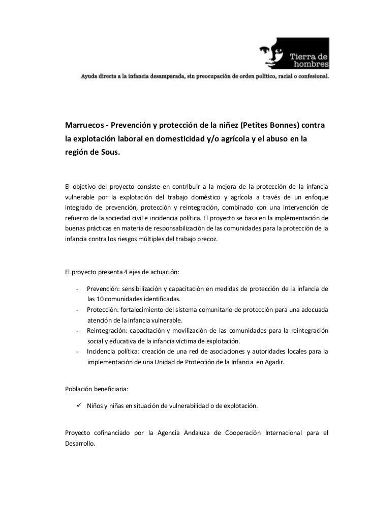 Marruecos - Prevención y protección de la niñez (Petites Bonnes) contrala explotación laboral en domesticidad y/o agrícola...