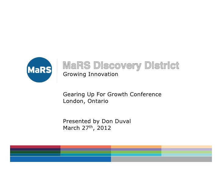 Growing InnovationGearing Up For Growth ConferenceLondon, OntarioPresented by Don DuvalMarch 27th, 2012