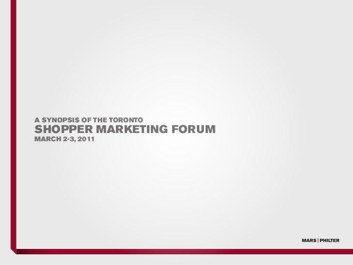 Mars-Philter Shopper Marketing Forum 2011