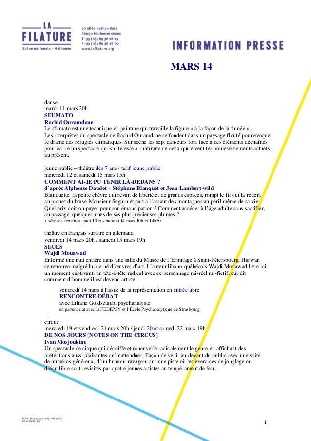 1 MARS 14 danse mardi 11 mars 20h SFUMATO Rachid Ouramdane Le sfumato est une technique en peinture qui travaille la figur...