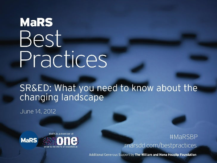 SR&ED: What you need to know about the changing landscape - MaRS Best Practices