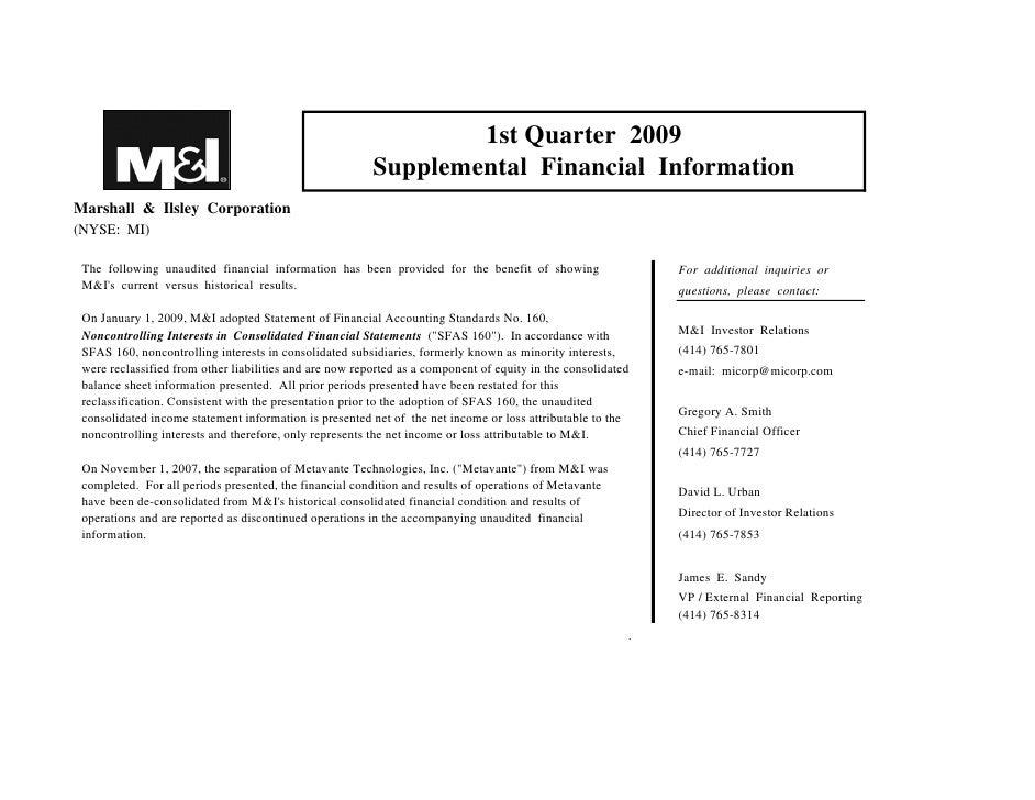 1st Quarter 2009                                                          Supplemental Financial Information Marshall & Il...