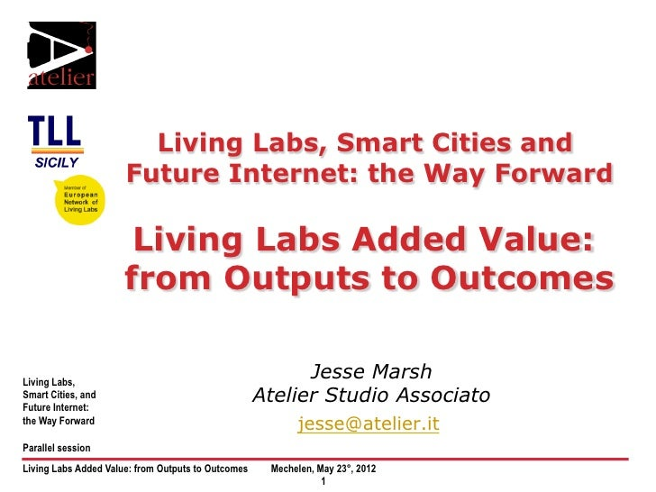Living Labs Added Value: from Outputs to Outcomes Jesse Marsh