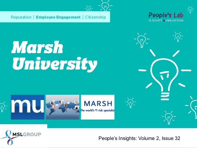 Reputation | Employee Engagement | Citizenship  Marsh University  People's Insights: Volume 2, Issue 32