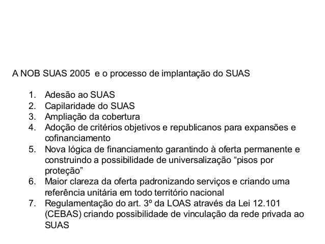 A NOB SUAS 2005 e o processo de implantação do SUAS 1. Adesão ao SUAS 2. Capilaridade do SUAS 3. Ampliação da cobertura 4....