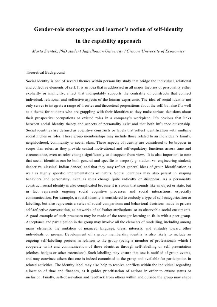Gender-role stereotypes and learner's notion of self-identity                                in the capability approach   ...