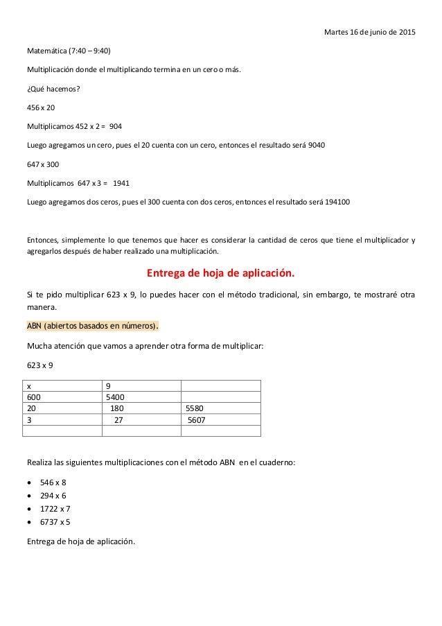 Martes 16 de junio de 2015 Matemática (7:40 – 9:40) Multiplicación donde el multiplicando termina en un cero o más. ¿Qué h...