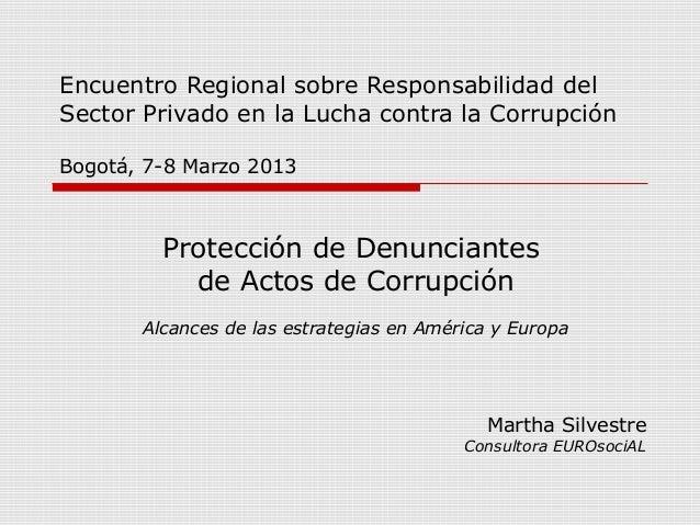 Protección de denunciantes de actos de corrupción - Martha Silvestre