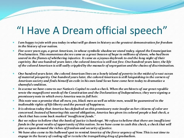 """mlk jr i have a dream speech essay Martin luther king jr: i have a dream essay sample almost everyone who has ever heard or read reverend martin luther king jr's, """"i have a dream"""" speech has been touched to the core of their soul."""