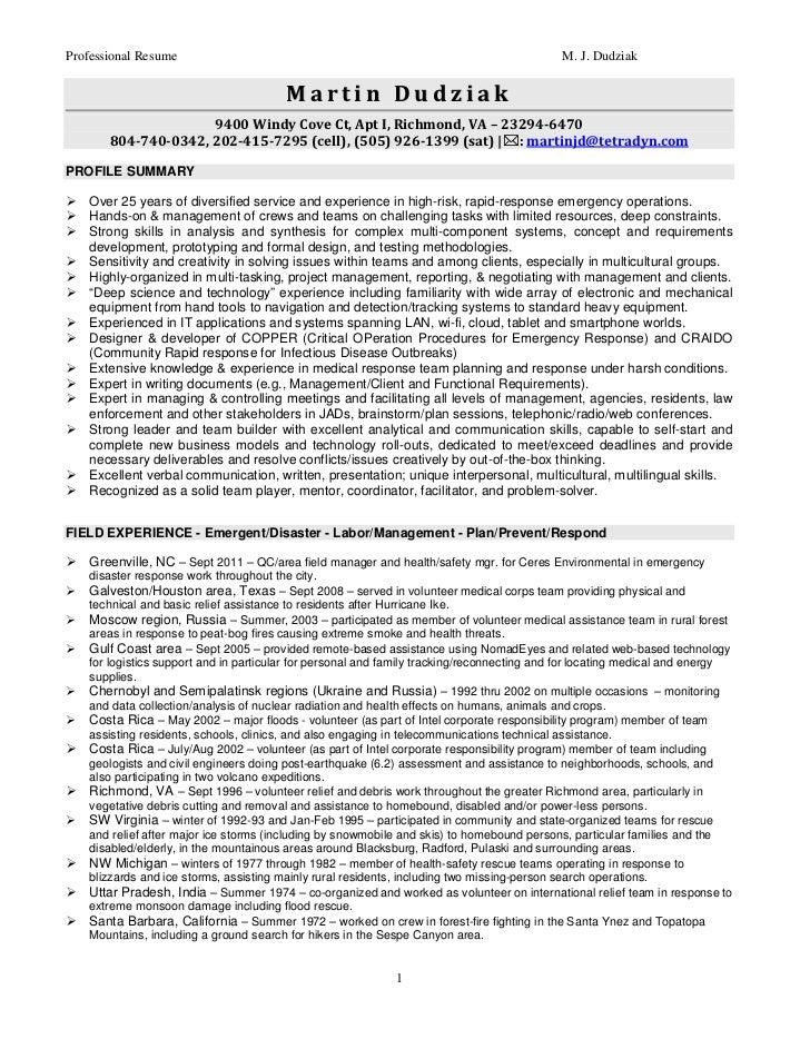 Martin Dudziak Emergency Storm Fire Flood Health Safety Resume June2012